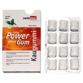 Power Kaugummi mit Xylit und Guarana 12x12Stk/Box
